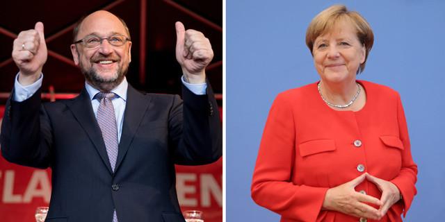 Martin Schulz und Angela Merkel im TV-Duell