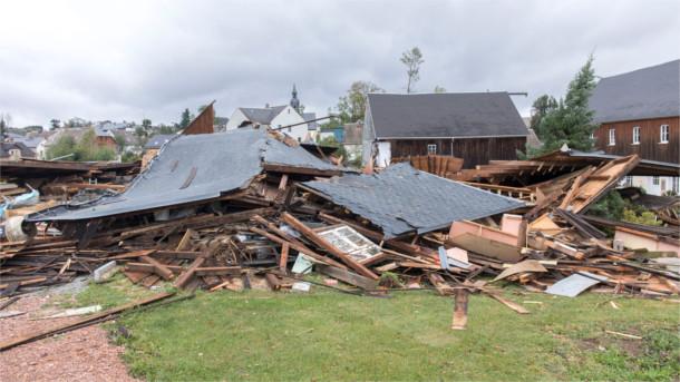 Zerstörung durch das Sturmtief Fabienne in Sachsen