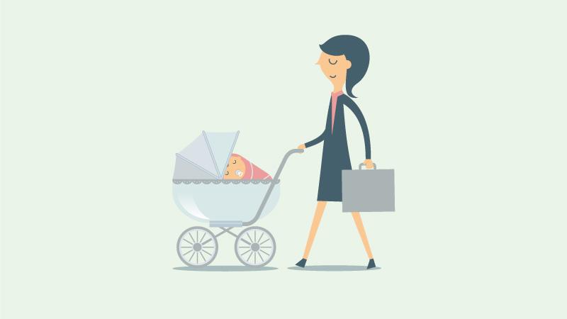 Frau mit Kinderwagen und Aktentasche