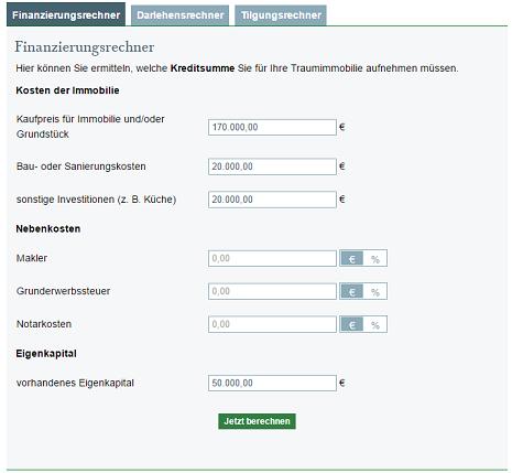 Baufinanzierungsrechner - Hausfinanzierung mit dem Baufi-Rechner ...