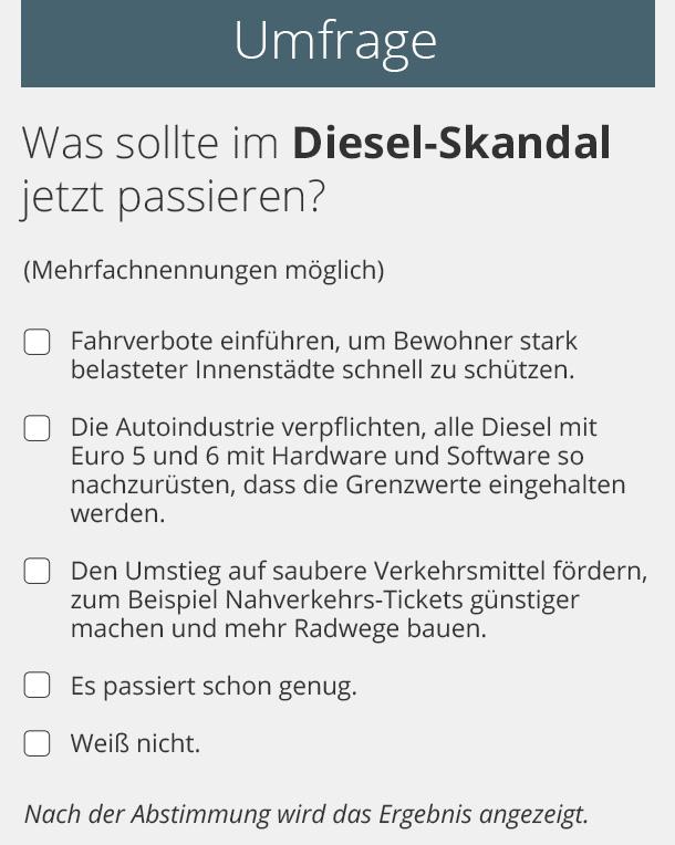 Umfrage zum Diesel-Urteil