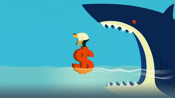 Kreditnehmer auf hoher See bedroht vom Kredithai