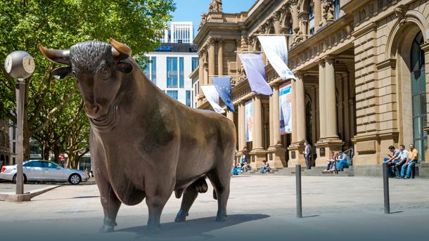 Bulle vor der Börse Frankfurt